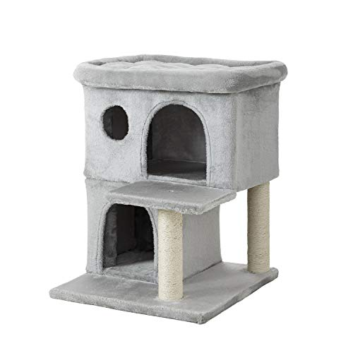 Ipet Home Cat Tower, Cat Tree and Condos for Large Cats, Kittens and Cats Activity Play House, Cat Furniture with Large Plush Perch, Fully Wrapped Scratching Sisal Posts, Grey