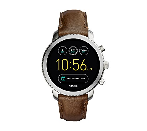 Fossil Men's Silvertone Leather Q Wander Smartwatch