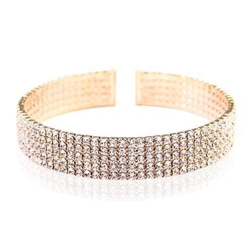 RIAH FASHION Sparkly Rhinestone Bridal Wedding Statement Bracelet - Cubic Zirconia Crystal Stretch Memory Wire/Adjustable Wrist Band Cuff/Hinge Bangle/Delicate Star Heart Flower (Band -5 Row - Gold)
