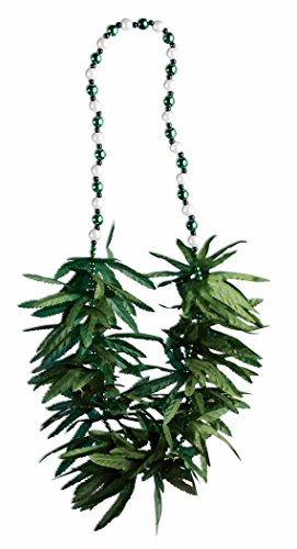 Marijuana Beads Green Leaf Necklace Party Accessory (1/Pkg) Pkg/1
