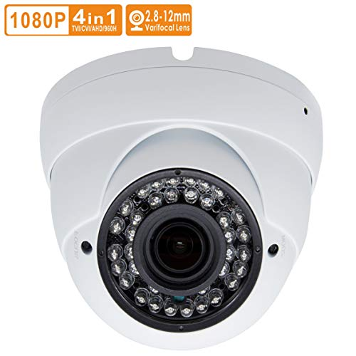 Inwerang 2MP HD 1080p CCTV Dome Security Camera,TVI/AHD/CVI/960H CVBS(4in1) Ourdoor/Indoor 2.8mm-12mm Varifocal Lens 100ft Infrared Distance, IP66 Water-Proof Day & Night Vision CCTV Security Camera