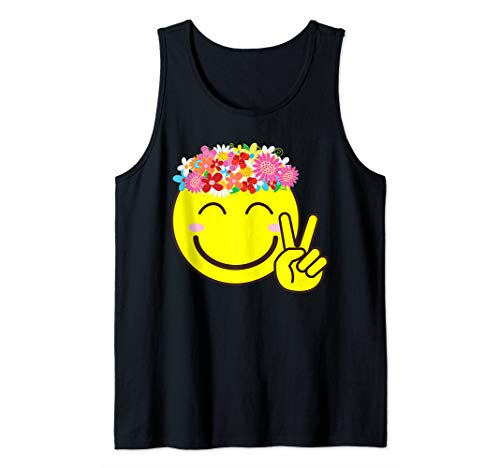 Smiley Emoticon Flower Crown Happiness Peace Sign Tank Top