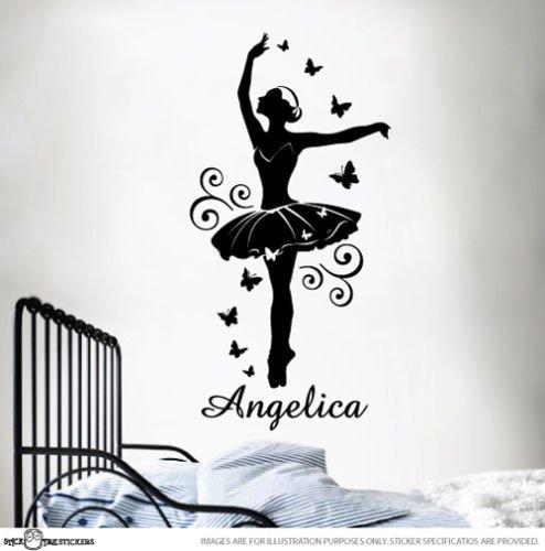 Jmhwall Custom Name Ballerina Ballet Dancer Sticker Wall Vinyl For Girls Removable Art Child Tinkerbell Ballerina