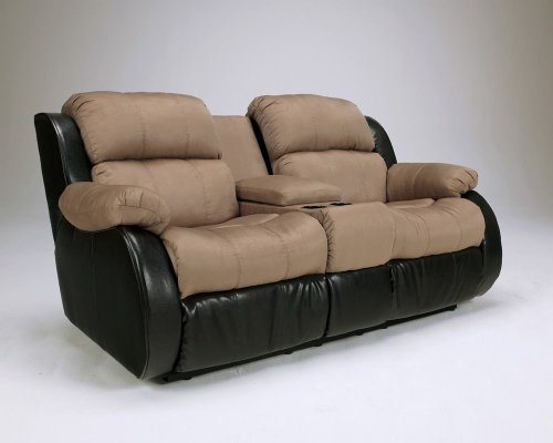 Presley Cocoa - Signature Design by Ashley Presley Cocoa Reclining Loveseat with Console