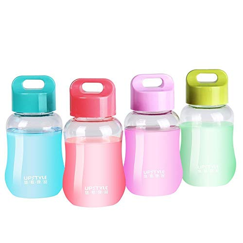 UPSTYLE 6oz Kids Small Water Bottle Girls Cute Plastic Juice Travel Mugs Bulk Mini Wide Mouth Snacks Box Portable Sports Water Cups for Milk/Coffee/Tea Kitchen Small Storage Bottles 180ml(Set of 4)