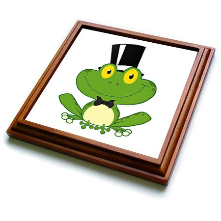 3dRose trv_118573_1 Cute Groom Cartoon Frog Character Trivet with Ceramic Tile, 8 by 8