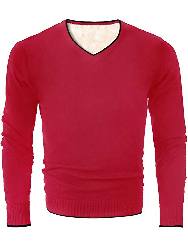 (MOCOTONO Men's V Neck Pullover Fleece Lined Cotton Sweater Blue Small)