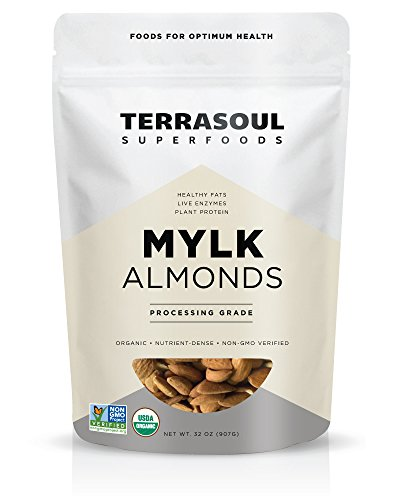 Terrasoul Superfoods Raw Unpasteurized Organic Almonds (Mylk Grade), 2 Pounds