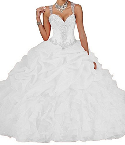 (Dydsz Women's Quinceanera Dresses 2019 Ball Gown Sweet 16 Prom Dress Plus Size Pink D18 White 12)