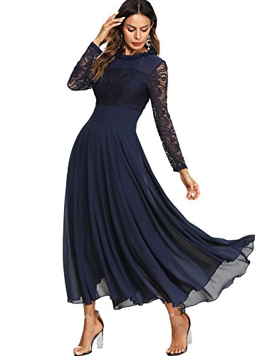 Milumia Women's Vintage Floral Lace Long Sleeve Ruched Neck Flowy Long Dress Navy XXL