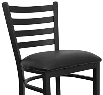 Black Ladder Back Metal Restaurant Bar Stool Black Vinyl Seat XU-DG697BLAD-BAR-BLKV-GG