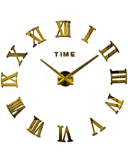 Large Diy Quartz 3d Wall Clock Acrylic Sticker Roman Number Wall Clock - Gold