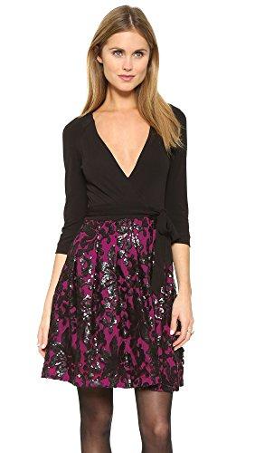 Diane von Furstenberg Women's Jewel Wrap Dress, Black/Hot Orchid, 10 -