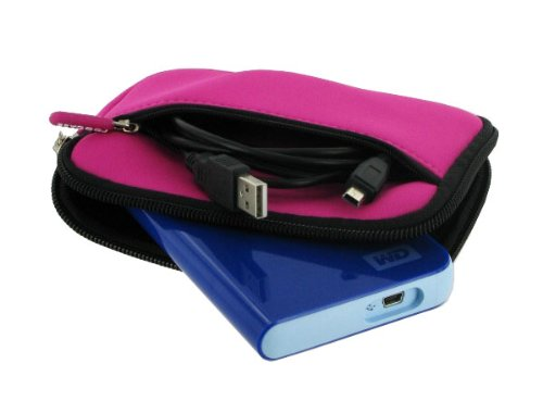 rooCASE SLV2 Neoprene Sleeve (Pretty Hot Pink) Carrying Case for Iomega eGo 1.5TB Portable Hard Drive SuperSpeed USB 3.0 Midnight Blue 35330