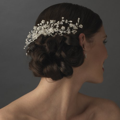 Nerina Crystal Floral Vine Wedding Bridal Hair Comb by Fairytale Bridal Tiara (Image #2)