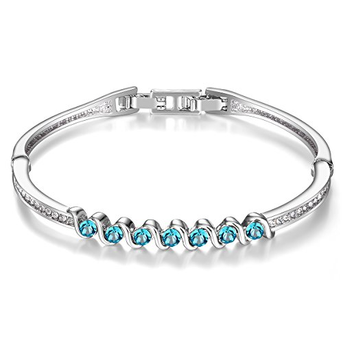 Rose Swarovski Crystal Silver Plated - Menton Ezil 925 Silver Plated Made With Swarovski Blue Crystals 7 Inches Bangle Bracelet Gift for Girls Womens Fashion Jewelry