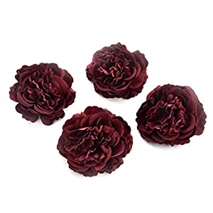 Fake flower heads in bulk wholesale for Crafts Artificial DIY Silk Peony Heads Decorative Simulation Flower Head Decor for Home Wedding Birthday Party Decoration Fake Flowers 8PCS 7.5cm (Burgundy) 21