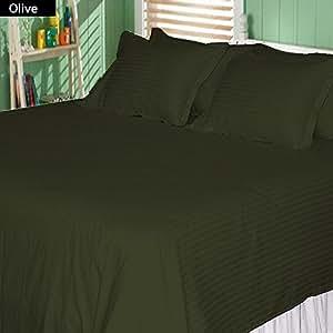 450 TC Stripe Pattern 4 Pcs Sheet Set 100% Egyptian Cotton 22 Inch Deep Pocket ( Full , Olive )