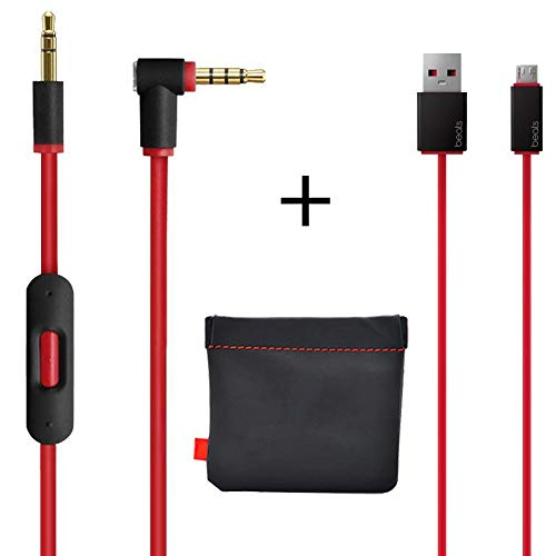 Replacement AUX Audio Cable Cord for Beats by Dre Headphones Solo/Studio/Pro/Detox/Wireless with MIC Red(Discontinued by Manufacturer)+Replacement Charger Cable for Beats by Dr Dre and (Best Audio Cable For Beats Studios)