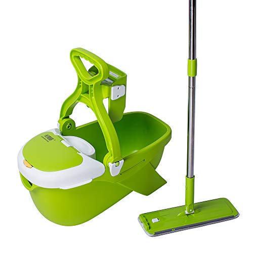 - CQT Mop and Bucket System for Floor Cleaning with 1 Extra Flat Microfiber Mop Refill
