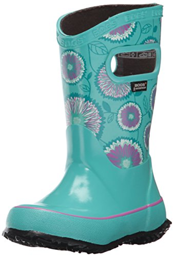 Wildflowers Pull (Bogs Unisex-Kids Wildflowers Rain Boot, Turquoise/Multi, 7 M US Big Kid)
