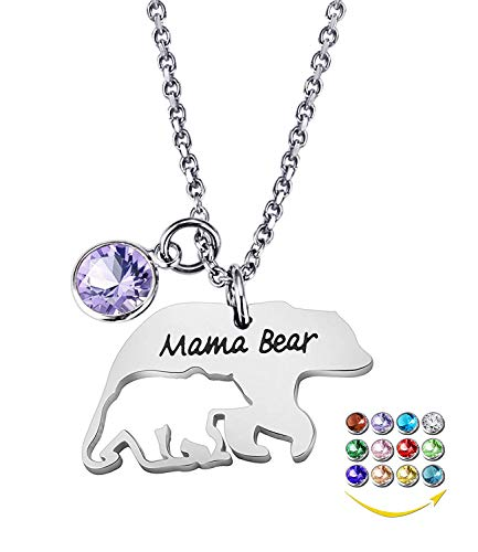YOUFENG Mom Necklace Mama Bear Necklaces Pendant 12 Months Birthstone Jewelry for Women Girls (February Birthstone)