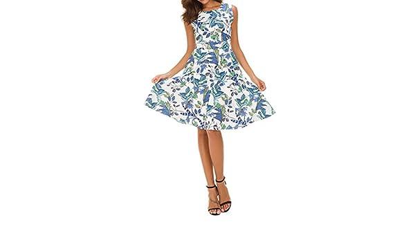 Venta De Liquidación 2019 Vestido De Fiesta De Noche Sin Mangas con Estampado Floral De Moda para Mujer Vestido De Fiesta Audrey Hepburn Falda Flamenca ...
