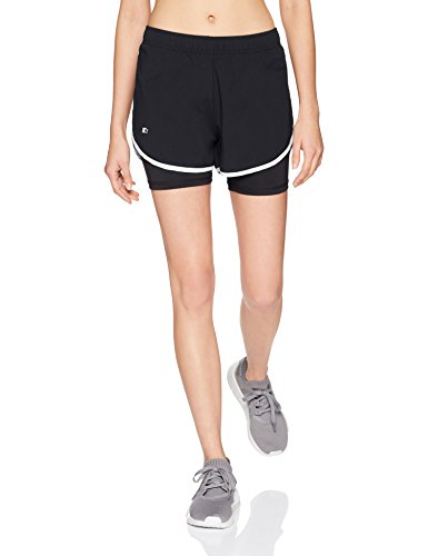 Starter Women's 3' Two-in-One Running Short, Amazon Exclusive, Black with Black, Extra Small