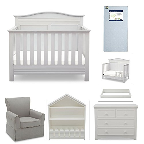 Convertible Crib Room Set - Serta Barrett 7-Piece Nursery Furniture Set - Convertible Crib, Toddler Rail, Dresser, Changing Top, Bookcase, Crib Mattress, Glider - Bianca White