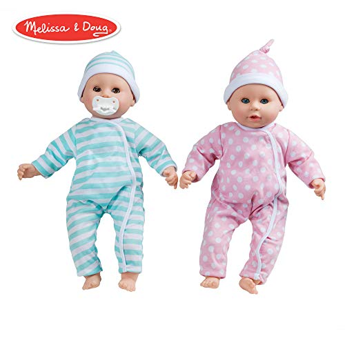 "Melissa & Doug Mine to Love Twins Luke & Lucy 15"" Light Skin-Tone Boy & Girl Baby Dolls with Rompers, Caps, Pacifiers"