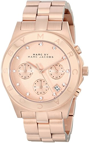 (Marc by Marc Jacobs Women's Large Blade Chrono Watch, Rose Gold, One Size)