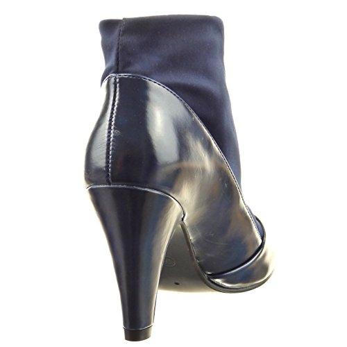 Sopily - damen Mode Schuhe Stiefeletten Flexible glänzende - Blau