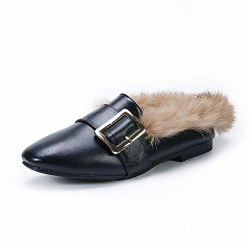 ZH Maomao Chaussures Femmes Automne Et L'Hiver Européen Et Chaussures Latérales Américaines Ainsi Que Des Chaussures Plates de Velours avec une Seule Chaussures Plates Marée Chaussures de Pois Ré Fgq3jo6lLZ