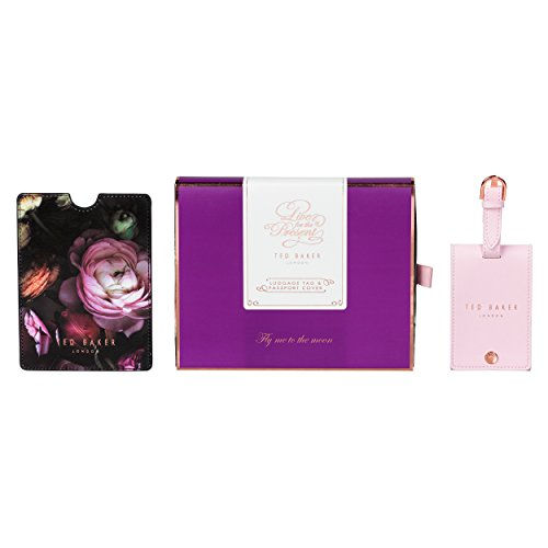 Wild and Wolf Ted Baker Luggage Tag and Passport Holder Flora, Shadow - Floral Luggage Tag