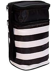 J.L. Childress 6 Bottle Cooler, Black Stripe with Teal