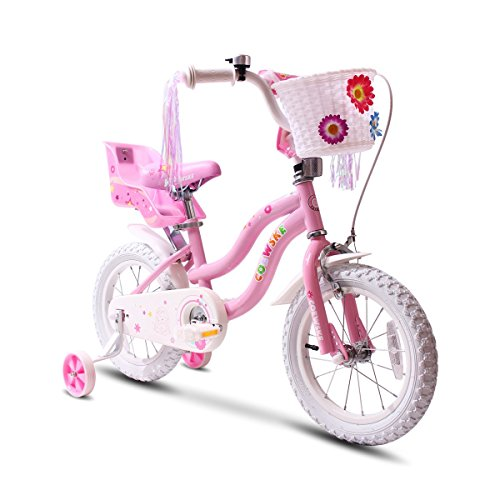 Disney Princess Bicycle - COEWSKE Kid's Bike Steel Frame Children Bicycle Little Princess Style 14-16 Inch with Training Wheel(14