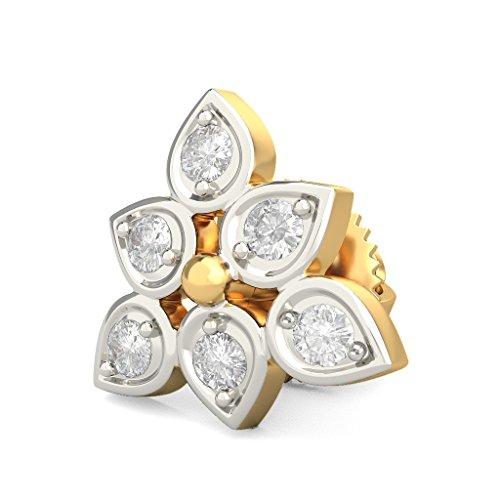 14K Or jaune 0.12CT TW White-diamond (IJ | SI) Boucles d'oreille à tige