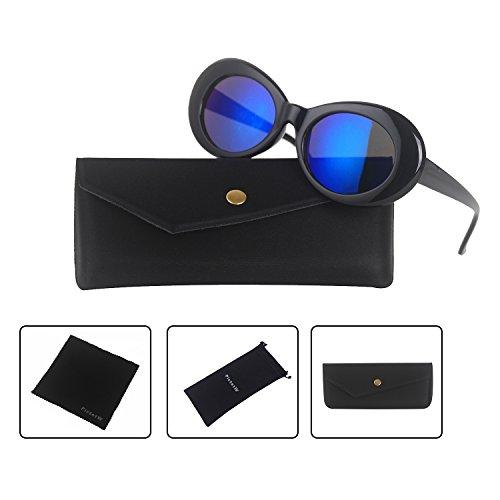 Clout Goggles Bold Retro Oval Mod Thick Frame Sunglasses Kurt Cobain Inspired Sunglasses Round Lens (Black / Blue - Lens Oval Black