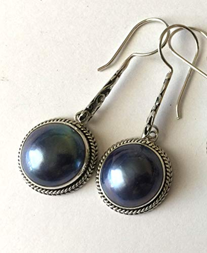 - Peacock Blue Mabe Pearl sterling silver earrings AE51