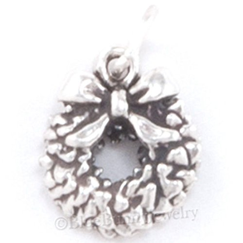 CHRISTMAS WREATH Charm Pendant BOW Bracelet 925 STERLING SILVER Jewelry small Jewelry Making Supply Pendant Bracelet DIY Crafting by Wholesale Charms