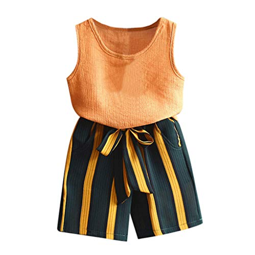(2Piece Toddler Baby Girl Outfits Set,Sleeveless Vest Tanks Top T-Shirt Stripe Shorts Pants for Summer Yellow)