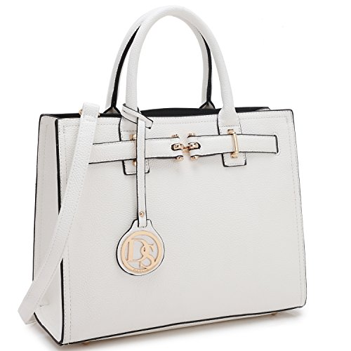 20a524285ad5 Galleon - Dasein Medium Top Handle Handbag For Women Designer Satchel Purse  Structured Shoulder Bag (1-white)