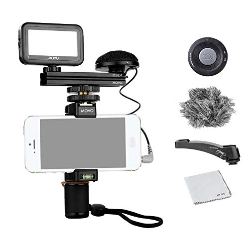 Movo Smartphone Video Kit V3 with Grip Rig, Omnidirectional Movo Microphone, LED Light and Wireless Remote - YouTube Equipment Compatible with Android and iPhone 5, 5C, 5S, 6, 6S, 7, 8, X, XS, XS Max