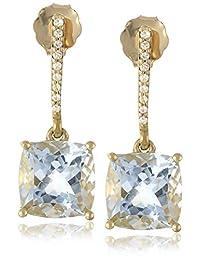 10k Yellow Gold Cushion Cut Aqua and Diamond Accent Linear Drop Earrings