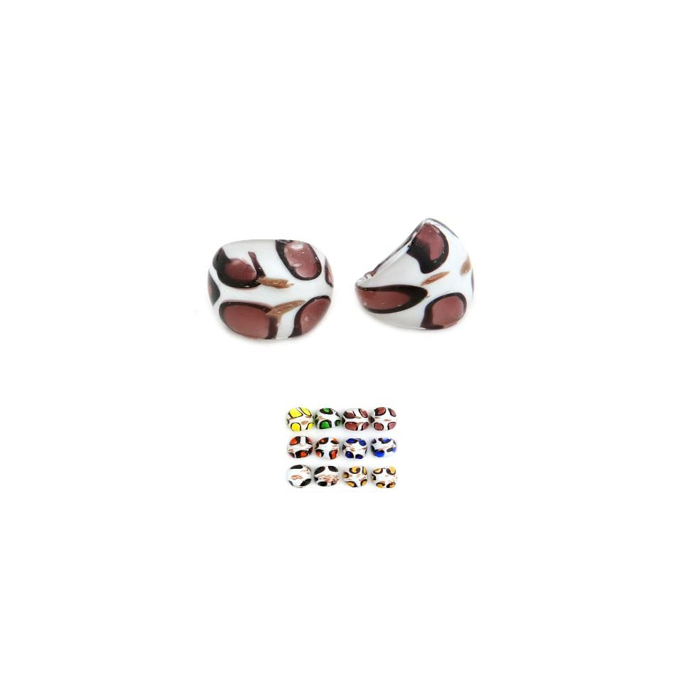 Improving Lifestyles Murano glass Ring White/Brown one size fits most