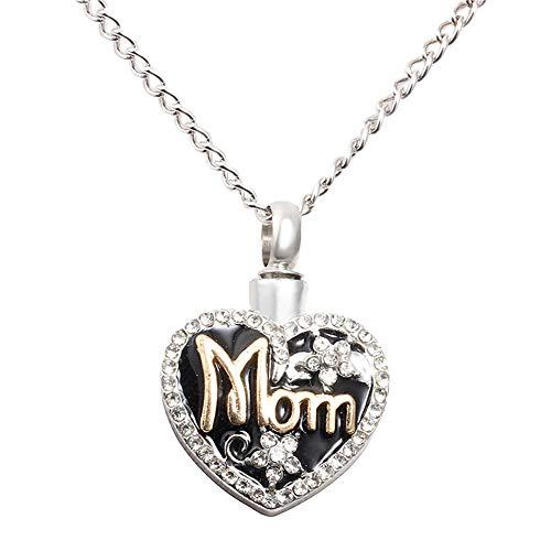 bromrefulgenc Necklace for Women,Mom Love Heart Shape Memorial Urn Necklace for Ashes Cremation Pendant Keepsake Silver ()