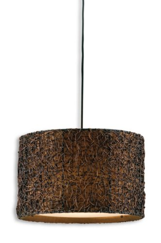 "Diva At Home 19"" Hand Rubbed Knotted Rattan Espresso Finished Hanging Drum Light Shade"