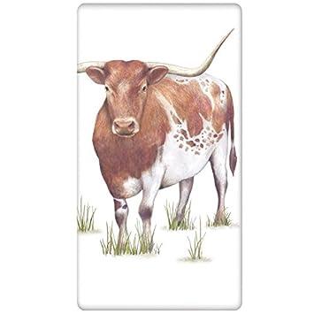 Mary Lake-Thompson Longhorn Vaca de Toallas de algodón Harina Saco de Cocina 30x30 Multicolor: Amazon.es: Hogar
