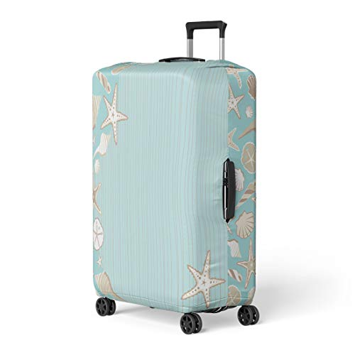 Pinbeam Luggage Cover Seashell Beach Party Variety of Shells on Aqua Travel Suitcase Cover Protector Baggage Case Fits 22-24 inches (Best Seashell Beaches On The East Coast)