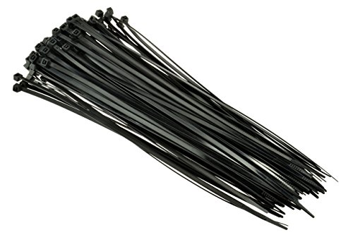 SE CT1676B Heavy-Duty 16'' Black Cable Ties with 110-lb. Tensile Strength, 100-Pack by SE